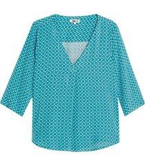 blusa estampada con ramillete color verde, talla l