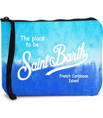 bluette and light blue tie dye scuba pochette