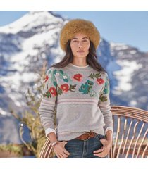 sundance catalog women's bold botanic sweater in gray floral large