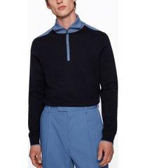 boss men's contrast-collar troyer sweater