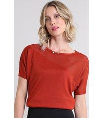blusa feminina ampla em tricô manga curta decote redondo cobre