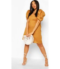 plus linen sleeve a line mini dress, tan