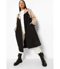 contrasterende trench coat met ceintuur, black