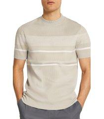 men's river island stripe short sleeve crewneck sweater, size xx-large - beige