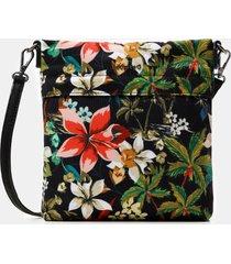 floral crossbody bag - black - u