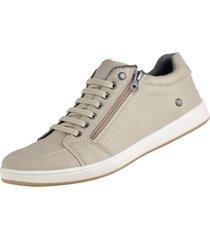 sapatenis cr shoes casual com ziper bege - bege - masculino - sintã©tico - dafiti