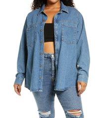 good american split back denim shirt, size 5 in blue820 at nordstrom