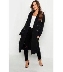 petite utility trench coat met knoop detail, zwart