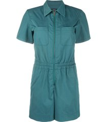 a.p.c. zip-up short sleeve playsuit - green