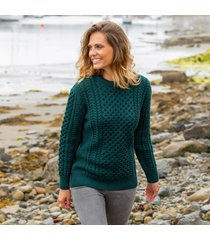 women's traditional merino wool aran sweater dark green large