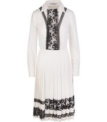 midi dress in white cady and black lace