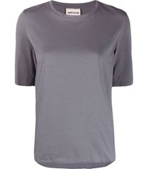 semicouture mirrored logo crew-neck t-shirt - grey