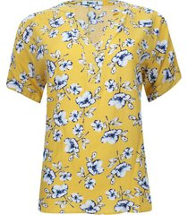 blusa estampada flores hawaianas color amarillo, talla 8
