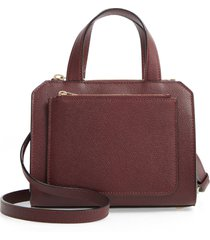 valextra mini passepartout leather satchel - burgundy