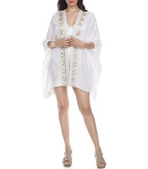 embroidered kimono-sleeve cover-up