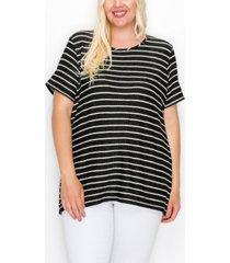 coin 1804 plus size pointelle stripe short sleeve button back t-shirt