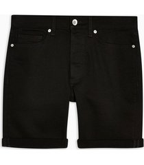 mens black denim skinny shorts
