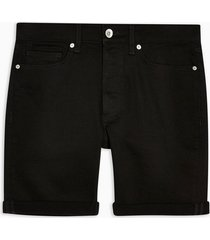mens black stretch skinny denim shorts