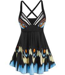 plus size print skirted cross back tankini swimwear