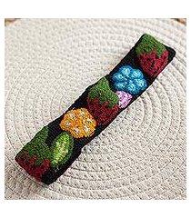 wool headband, 'flowers and strawberries' (peru)