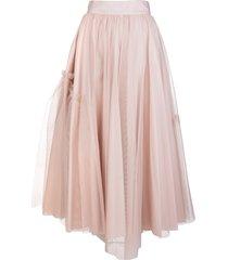 alexander mcqueen powder pink tulle midi skirt