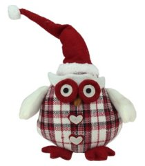 "northlight 12"" chubby red and white plaid owl with santa hat and heart buttons table top christmas figure"