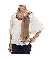 cotton reversible scarf, 'brown beige duet' (thailand)