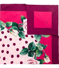dolce & gabbana tropical rose square scarf - pink