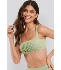 na-kd swimwear structured lace edge bikini top - green