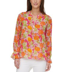 calvin klein printed popover blouse
