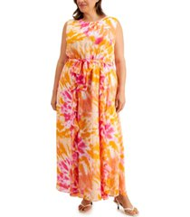 calvin klein plus size printed double-ruffle tie-front maxi dress