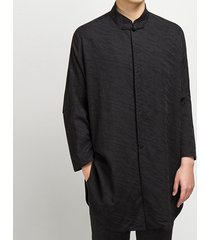 men's oversize dress camicia stile cinese in lino jacquard stile lungo casual allentato camicia