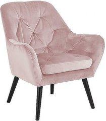 fotel welwetowy pikowany claire różowy