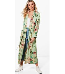 premium floral print kimono, green