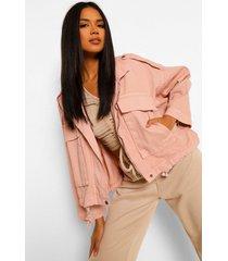 denim pocket utility jacket, pink