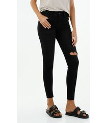 jean de mujer super slim tiro medio color negro