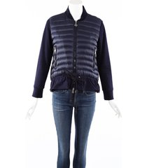 moncler maglia cardigan blue down filled jacket blue sz: s