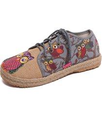 scarpe in tessuto colorato con motivo di gufo carino chiusura con lacci