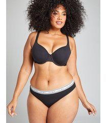 lane bryant women's cotton thong panty with wide waistband 12 black