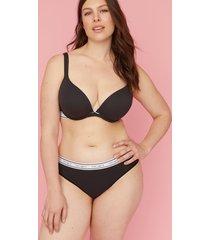 lane bryant women's cotton wide-side thong panty - striped logo waistband 14/16 black