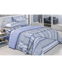 cobre leito amsterdã solteiro 02 peças - azul bordados ricardo