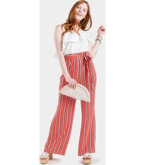 taina stripe off the shoulder jumpsuit - coral
