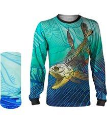 camisa + máscara pesca quisty dourado do rio skull fishing proteção uv dryfit infantil/adulto - camiseta de pesca quisty
