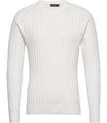 jace-contrast knit gebreide trui met ronde kraag wit j. lindeberg
