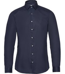 2ply poplin stretch slim shirt overhemd business blauw calvin klein