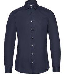 2ply poplin stretch slim shirt overhemd business blauw calvin klein
