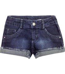 shorts popstar barra dobrada jeans infantil feminino