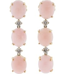 pink opal and diamond earrings