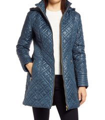 women's via spiga quilted hooded coat, size small - blue