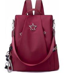 mochila antirrobo / mochila de tela oxford de moda-rojo